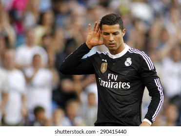BARCELONA - MAY 17: Cristiano Ronaldo of Real Madrid celebrates a goal during a Spanish League match against RCD Espanyol at the Power8 stadium on May 17 2015 in Barcelona, Spain