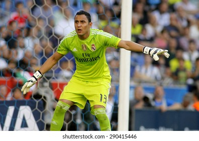 BARCELONA - MAY 17: Keylor Navas of Real Madrid in action during a Spanish League match against RCD Espanyol at the Power8 stadium on May 17 2015 in Barcelona, Spain