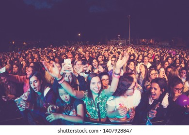 BARCELONA - MAY 18: The crowd in a concert at Primavera Pop Festival on May 18, 2019 in Barcelona, Spain.
