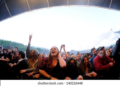 BARCELONA - MAY 22: People (fans) scream and dance in the first row of a concert at Heineken Primavera Sound 2013 Festival, Ray-Ban Stage, on May 22, 2013 in Barcelona, Spain.