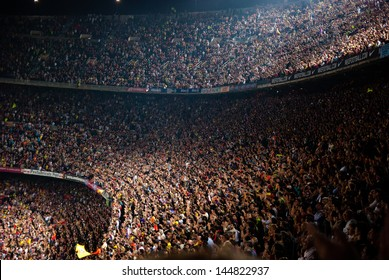 BARCELONA - MAY 23: Camp Nou Stadium after the match against Osasuna on May 23, 2009 in Barcelona, Spain. Barcelona celebrates spanish league title consecution.