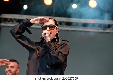 BARCELONA - MAY 23: Porcelain Black (American industrial pop singer songwriter, rapper, and model) at Primavera Pop Festival by Los 40 Principales on May 23, 2014 in Barcelona, Spain.