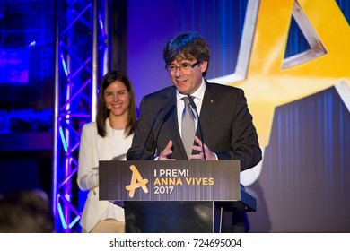 BARCELONA - MAY 25: Carles Puigdemont, President of the Generalitat of Catalonia, attends the Anna Vives awards ceremony in Banc d'Accio Social, on May 25, 2017, in Barcelona, Spain.