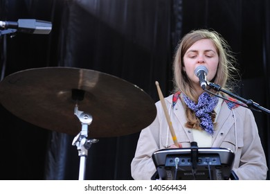 BARCELONA - MAY 25: Synthesizer and drummer woman of Mount Eerie band, performs at Heineken Primavera Sound 2013 Festival on May 25, 2013 in Barcelona, Spain.