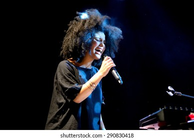 BARCELONA - MAY 26: Ibeyi (soul and contemporary rhythm and blues cuban band) performs at Apolo stage Primavera Sound 2015 Festival (PS15) on May 26, 2015 in Barcelona, Spain.