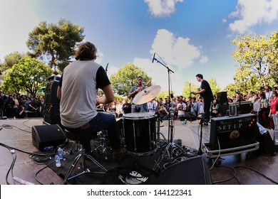 BARCELONA - MAY 26: Mac DeMarco band, performs at Heineken Primavera Sound 2013 Festival on May 26, 2013 in Barcelona, Spain. Free show at Parc de la Ciutadella.