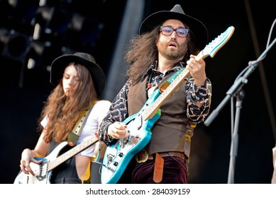 BARCELONA - MAY 30: The Ghost of a Saber Tooth Tiger (band) performs at Primavera Sound 2015 Festival, ATP stage, on May 30, 2015 in Barcelona, Spain.