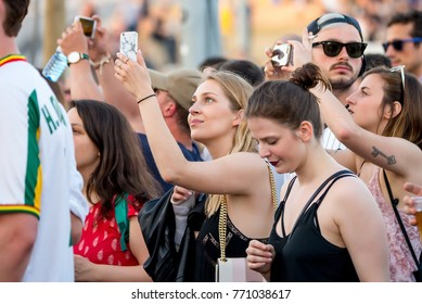 BARCELONA - MAY 31: People in a concert at Primavera Sound 2017 Festival on May 31, 2017 in Barcelona, Spain.