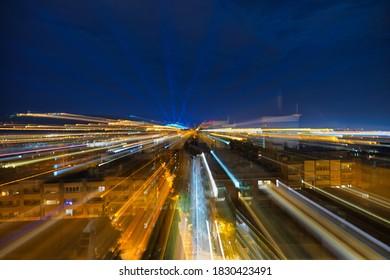 Barcelona Montjuic Magic  Lightshow  at night. Aerial Photo