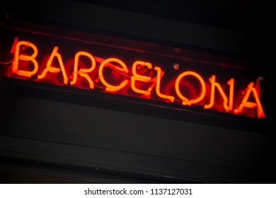 Barcelona neon sign on streets of the capital of Catalonia