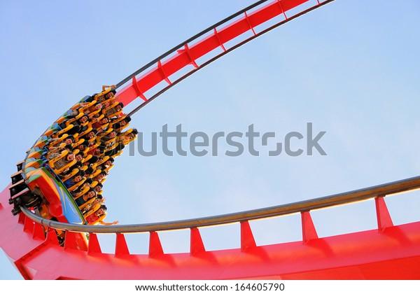 BARCELONA - NOV 1: The Dragon Khan, a famous roller coaster of the Port Aventura theme park on November 1, 2013 in Barcelona, Spain.