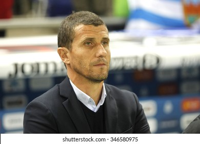 BARCELONA - NOV, 21: Javi Gracia manager of Malaga CF during a Spanish League match against RCD Espanyol at the Power8 stadium on November 21 2015 in Barcelona Spain