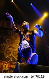 BARCELONA - NOV 25: Five Finger Death Punch (5FDP), heavy metal band, performs at Pavello Olimpic de Badalona stage on November 25, 2013 in Barcelona, Spain.