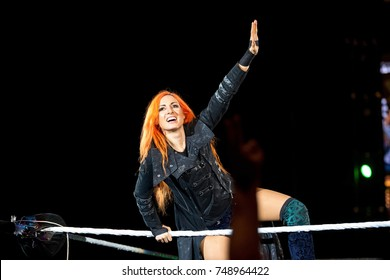 BARCELONA - NOV 4: The wrestler Becky Lynch in action at WWE Live at the Palau Sant Jordi on November 4, 2017 in Barcelona, Spain.