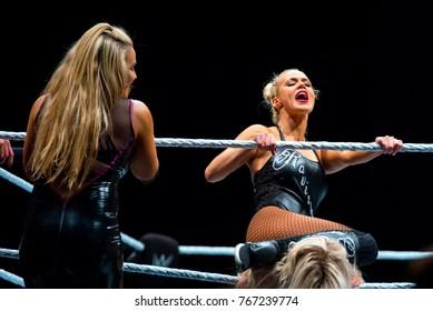BARCELONA - NOV 4: The wrestler Charlotte Flair in action at WWE Live at the Palau Sant Jordi on November 4, 2017 in Barcelona, Spain.