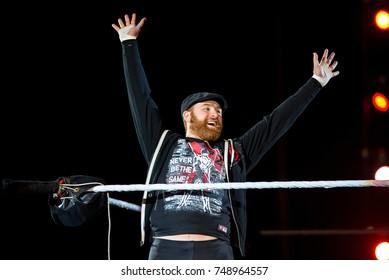 BARCELONA - NOV 4: The wrestler Sami Zayn in action at WWE Live at the Palau Sant Jordi on November 4, 2017 in Barcelona, Spain.