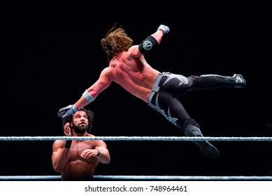 BARCELONA - NOV 4: The wrestlers AJ Styles (r) and Jinder Mahal (l) in action at WWE Live at the Palau Sant Jordi on November 4, 2017 in Barcelona, Spain.