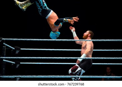 BARCELONA - NOV 4: The wrestlers Baron Corbin and Sin Cara in action at WWE Live at the Palau Sant Jordi on November 4, 2017 in Barcelona, Spain.