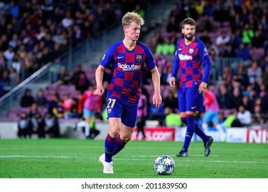 BARCELONA - NOV 5: Frenkie De Jong plays at the Champions League match between FC Barcelona and Slavia Praha at the Camp Nou Stadium on November 5, 2019 in Barcelona, Spain.