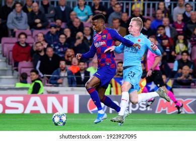 BARCELONA - NOV 5: Nelson Semedo plays at the Champions League match between FC Barcelona and Slavia Praha at the Camp Nou Stadium on November 5, 2019 in Barcelona, Spain.