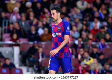 BARCELONA - NOV 5: Sergio Busquets plays at the Champions League match between FC Barcelona and Slavia Praha at the Camp Nou Stadium on November 5, 2019 in Barcelona, Spain.