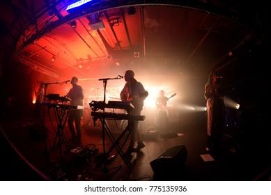 BARCELONA - NOV 7: Jungle (indie soul funk band) perform in concert at Razzmatazz Club on November 7, 2017 in Barcelona, Spain.