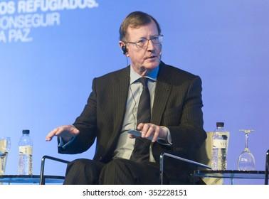 BARCELONA - NOVEMBER 14: Nobel Peace Prize in 1998 David Trimble speaking at the 15th World Summit of Nobel Peace Laureates on November 14, 2015, Barcelona, Spain.