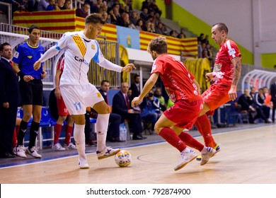 BARCELONA - NOVEMBER 25:  Pol Pacheco (11) in action at Futsal Spanish League match between Catgas Santa Coloma and Segovia, 2-3, on November 25, 2017, in Santa Coloma Gramenet, Barcelona, Spain.