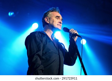 BARCELONA - OCT 10: Morrissey, the famous lyricist and vocalist of the rock band The Smiths, performs at Sant Jordi Club (venue) on October 10, 2014 in Barcelona, Spain.
