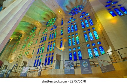 BARCELONA, OCT 13, 2014: Sained glass windows in the Basilica Temple Expiatori de la Sagrada Familia (Basilica and Expiatory Church of the Holy Family) in Barcelona