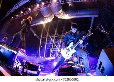 BARCELONA - OCT 14: Papa Roach (rock band) perform in concert at Razzmatazz Club on October 14, 2017 in Barcelona, Spain.