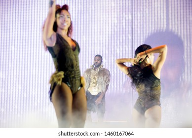 BARCELONA - OCT 17: Jason Derulo (Rhythm and Blues star) performs in concert at Sant Jordi Club stage on October 17, 2018 in Barcelona, Spain.