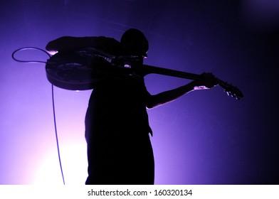 BARCELONA - OCT 19: Editors (British alternative rock band based in Birmingham) perfoms at Razzmatazz stage on October 19, 2013 in Barcelona, Spain.