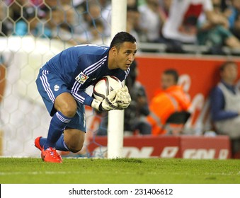 BARCELONA - OCT, 20: Keylor Navas of Real Madrid during the Spanish Kings Cup match against UE Cornella at the Estadi Cornella on October 29, 2014 in Barcelona, Spain