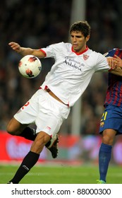 BARCELONA - OCT 22 : Federico Fazio of Sevilla FC in action during the spanish league match against FC Barcelona at the Nou Camp Stadium on October 22, 2011 in Barcelona, Spain