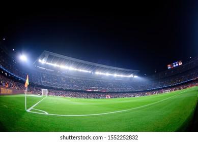 BARCELONA - OCT 29: Fisheye view of the Camp Nou Stadium at the La Liga match between FC Barcelona and Valladolid CF at the Camp Nou Stadium on October 29, 2019 in Barcelona, Spain.