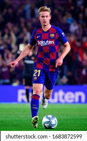 BARCELONA - OCT 29: Frenkie De Jong plays at the La Liga match between FC Barcelona and Valladolid CF at the Camp Nou Stadium on October 29, 2019 in Barcelona, Spain.