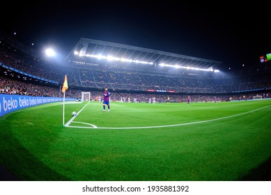 BARCELONA - OCT 29: Messi plays at the La Liga match between FC Barcelona and Valladolid CF at the Camp Nou Stadium on October 29, 2019 in Barcelona, Spain.