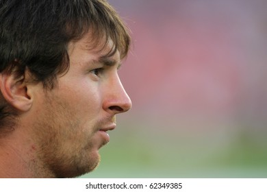BARCELONA - OCT 3: Leo Messi of FC Barcelona portrait before Spanish league match between FC Barcelona and RCD Mallorca at Nou Camp Stadium in Barcelona, Spain. October 3, 2010