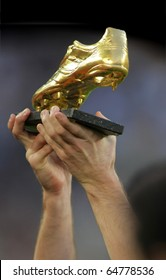 BARCELONA - OCT 3: Leo Messi hands with European Golden Boot award before spanish league match between FC Barcelona and RCD Mallorca at Nou Camp Stadium in Barcelona, Spain. October 3, 2010