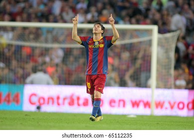 BARCELONA - OCT 3: Leo Messi of FC Barcelona celebrates goal during spanish league match between FC Barcelona and RCD Mallorca at Nou Camp Stadium in Barcelona, Spain. October 3, 2010