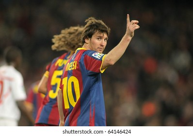 BARCELONA - OCT 30: Leo Messi of FC Barcelona celebrates goal during spanish league match between FC Barcelona and Sevilla FC at Nou Camp Stadium on October 30, 2010 in Barcelona, Spain