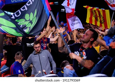 BARCELONA - OCT 6: Barcelona's supporters at the La Liga match between FC Barcelona and Sevilla FC at the Camp Nou Stadium on October 6, 2019 in Barcelona, Spain.
