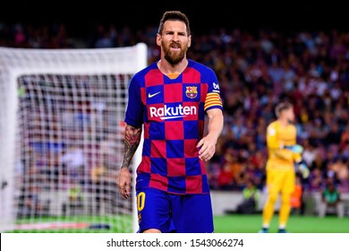 BARCELONA - OCT 6: Lionel Messi plays at the La Liga match between FC Barcelona and Sevilla FC at the Camp Nou Stadium on October 6, 2019 in Barcelona, Spain.