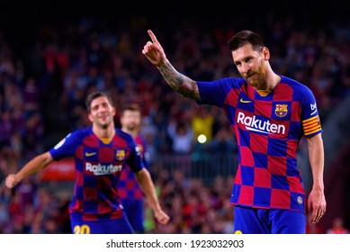 BARCELONA - OCT 6: Lionel Messi celebrates a goal at the La Liga match between FC Barcelona and Sevilla FC at the Camp Nou Stadium on October 6, 2019 in Barcelona, Spain.