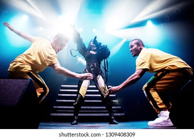 BARCELONA - OCT 7: Becky G (latino pop and reggaeton band) perform in concert at Razzmatazz stage on October 7, 2018 in Barcelona, Spain.