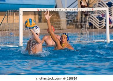 BARCELONA - OCTOBER 16: Water polo, Quadis Tournament, semi-final. CN Mataro 15 - CN Catalunya 6. October 16, 2010 in Mataro (Spain).