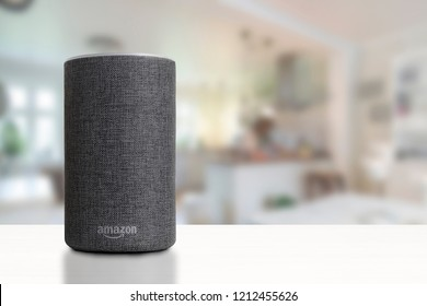 BARCELONA - OCTOBER 2018: Amazon Echo Smart Home Alexa Voice Service in a kitchen on October 25, 2018 in Barcelona.
