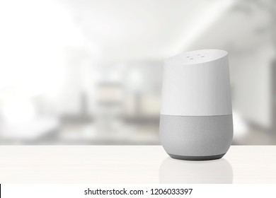 BARCELONA - OCTOBER 2018: Google Home Smart Home Service in a living room on October 18, 2018
