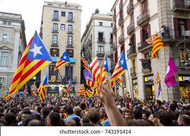 BARCELONA - OCTOBER 27: Catalonia declares independence from Spain. In the picture, people celebrates the new Catalan Republic, on October 27, 2017, in Barcelona, Spain.